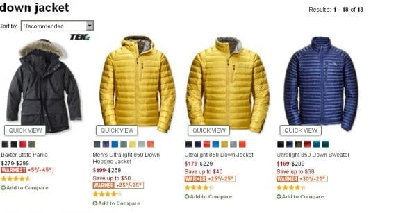 """L.L. Bean now displays helpful numerical temperature ratings for its """"warmer"""" and """"warmest"""" down parkas."""