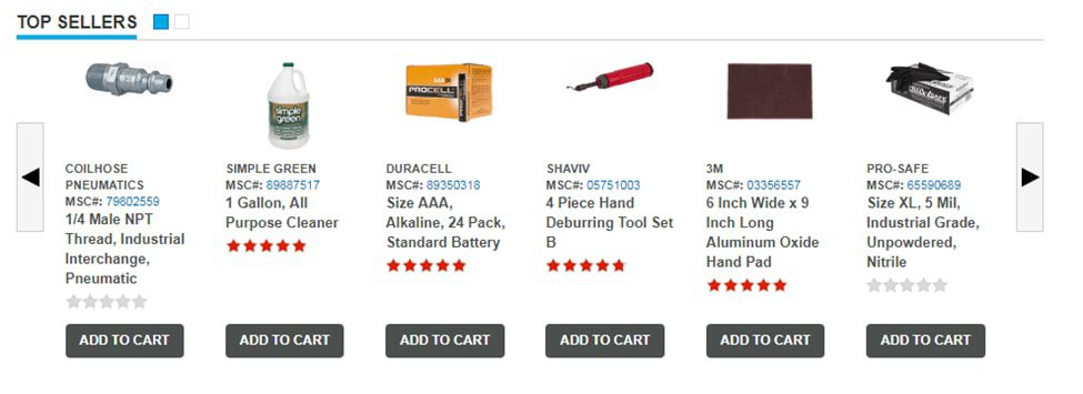 "MSC Industrial Supply, a distributor of manufacturing products, shows ""Top Sellers"" at the bottom of its home page, with ""Add to Cart"" buttons."