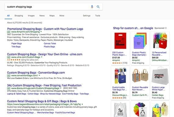 """Notice in this screen capture from Google for search results for """"custom shopping bags"""" that some of the companies are buying multiple pay-per-click ads on the page."""