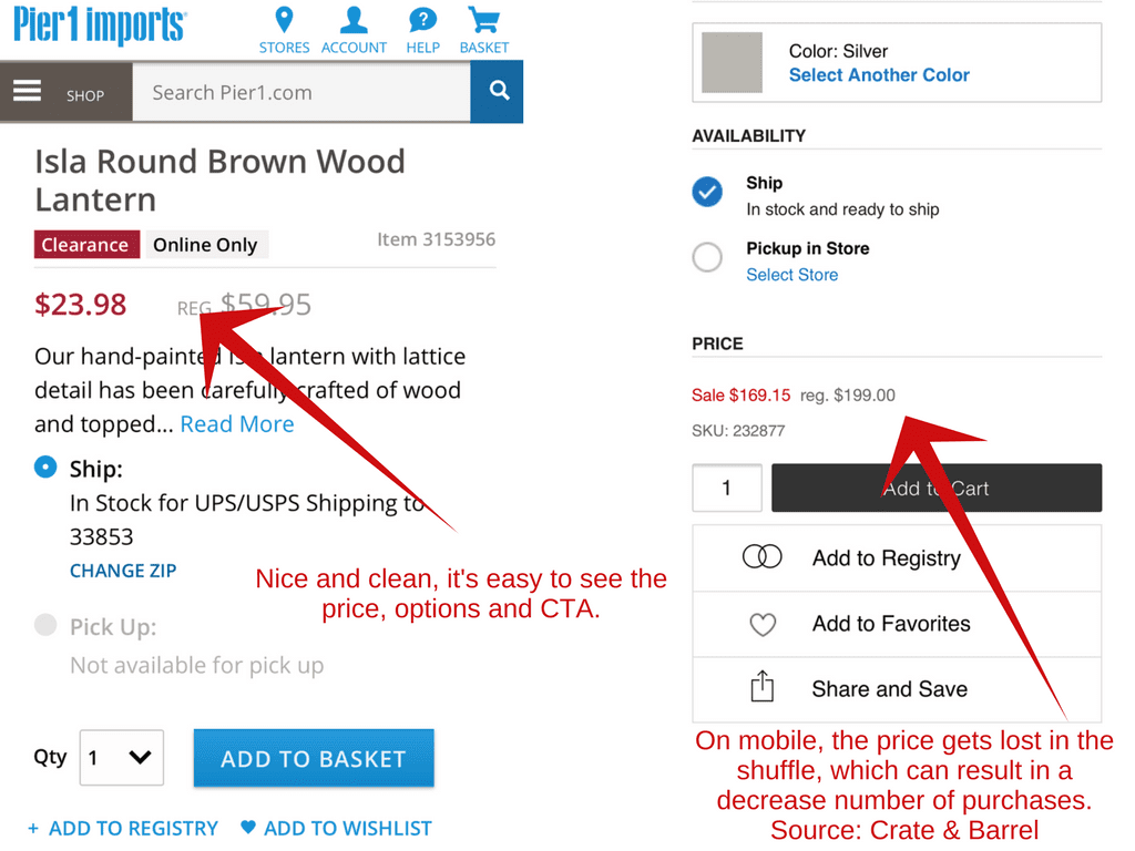 Crate & Barrel buries pricing on mobile devices.