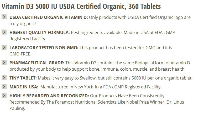 This listing from Bronson Nutritionals is easy to scan because each bullet point begins with a boldface summary of two to five words.