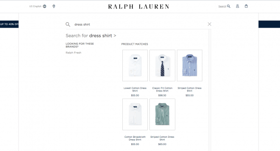 The Ralph Lauren site uses a search modal that is full-screen on mobile devices and covers most content on larger screens.