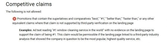 An excerpt from Google's posted AdWords policies shows the ban on superlatives in its advertising except when they are backed up by an independent third party.