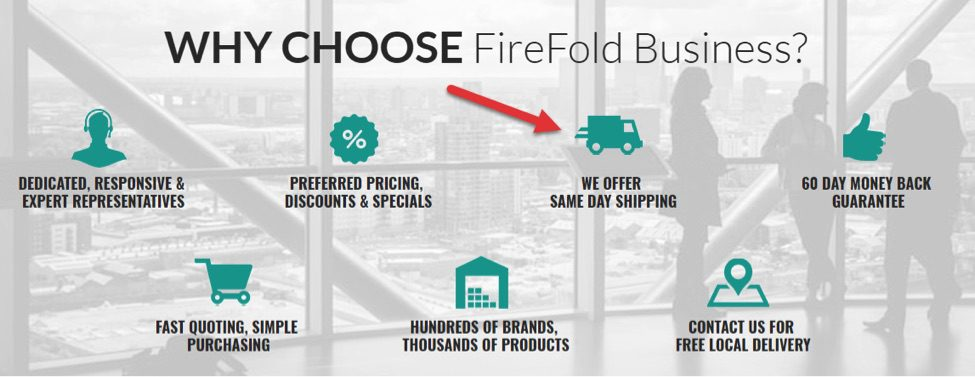 FireFold' s ship time is a competitive advantage. FireFold promotes same-day shipping throughout its website.