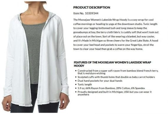 """This vivid description of a women's hoody from Moosejaw places the product into the shopper's lifestyle by describing it as """"a cozy wrap for cool coffee mornings or heading to yoga at the downtown studio."""""""