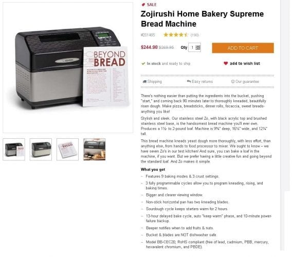 """King Arthur Flour gives this high-end bread maker a down-home nickname (""""Zo"""") and describes it in a next-door-neighbor voice."""