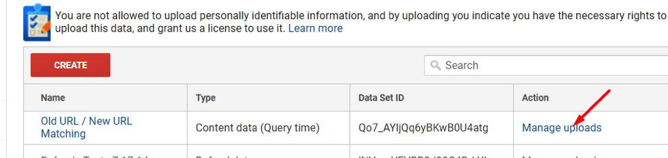 Upload the file by going to Property > Data Import > Manage uploads, which is next to the Data Set you created.