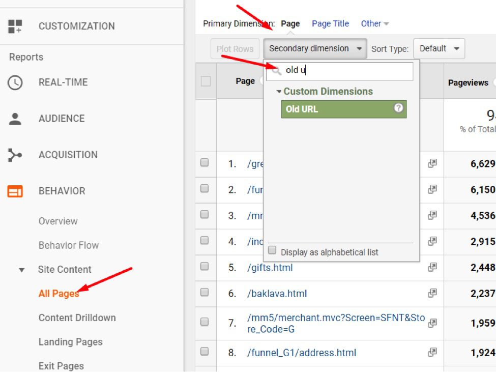 """Go to """"Behavior > Site Content > All Pages"""" then Secondary Dimension."""