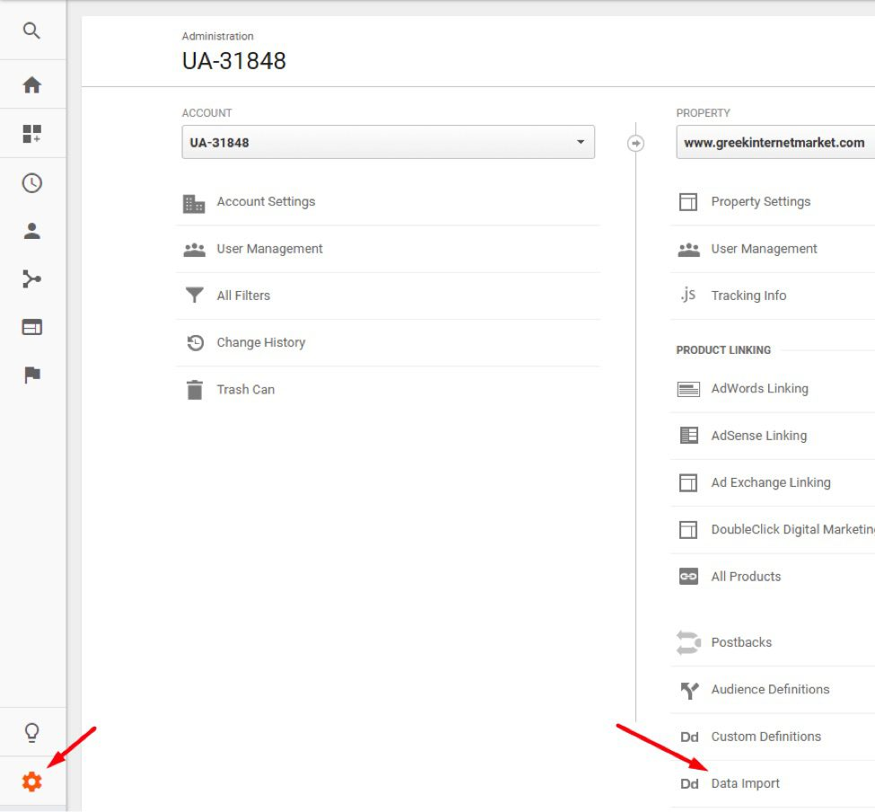 To upload data, go to Admin > Property > Data Import.