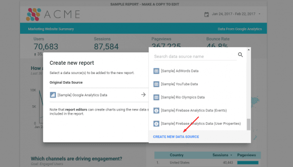 "Click on ""Create New Data Source"" on the right-hand side."