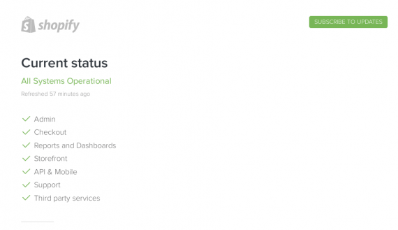 Shopify's status page is separated into seven key functions.