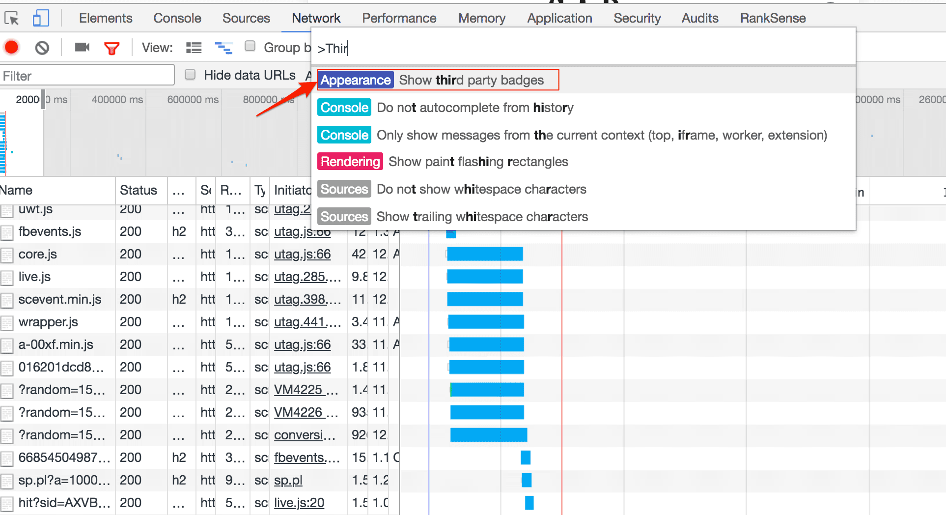"""In the Chrome Developer Tools Network tab, hit the keyword combination: Command + Shift + P, and search for """"Show third party badges"""""""