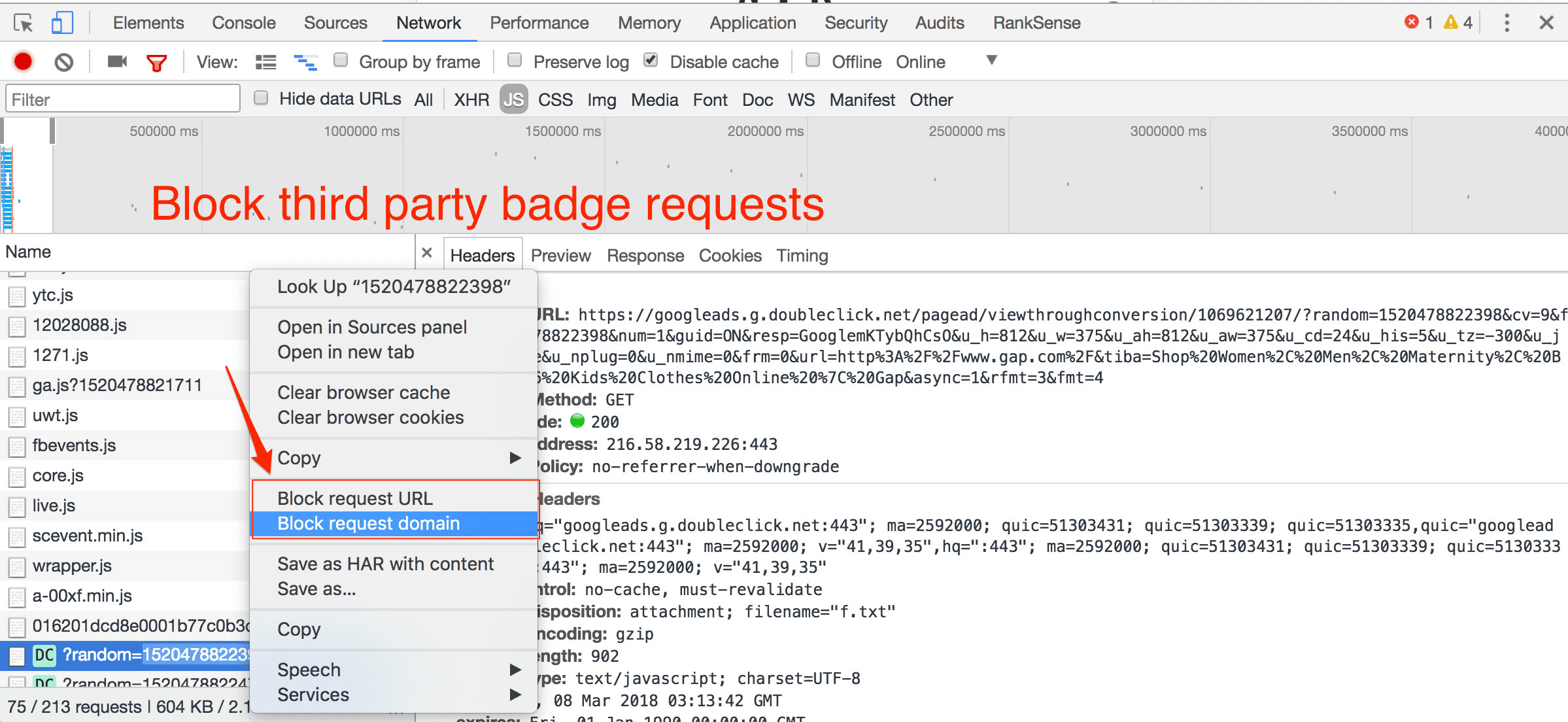 """Right-click on third-party resource, and select """"Block request URL"""" to remove."""