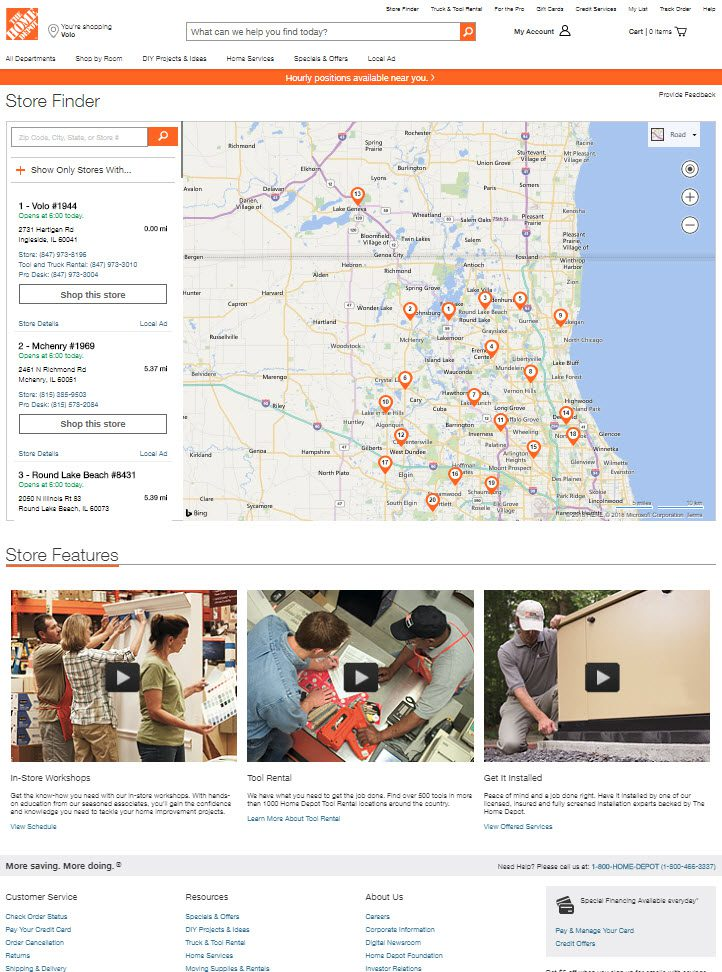 The Home Depot's location finder is a typical example.