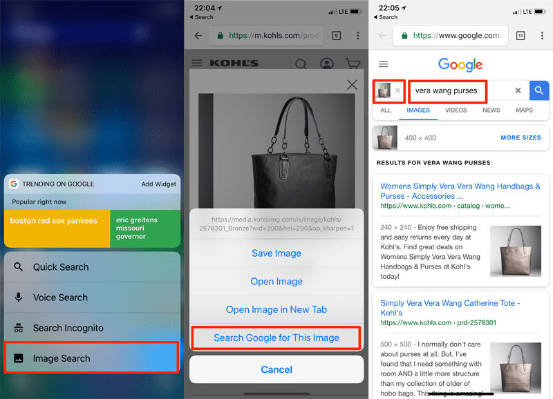 Using Google Chrome on a smartphone, shoppers can press and hold the product image to perform an image search. Google then automatically fills in the image and product description, to search other sites.