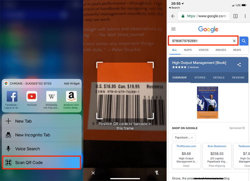 The Google Chrome App can scan a barcode the perform a search of the ISBN.