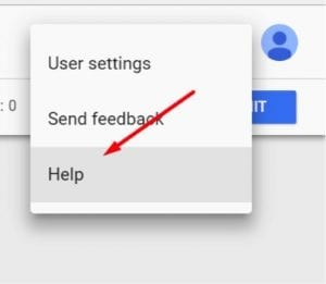 Google's documentation on Tag Manager resides in the help menu in the three-dot icon at the top-right.