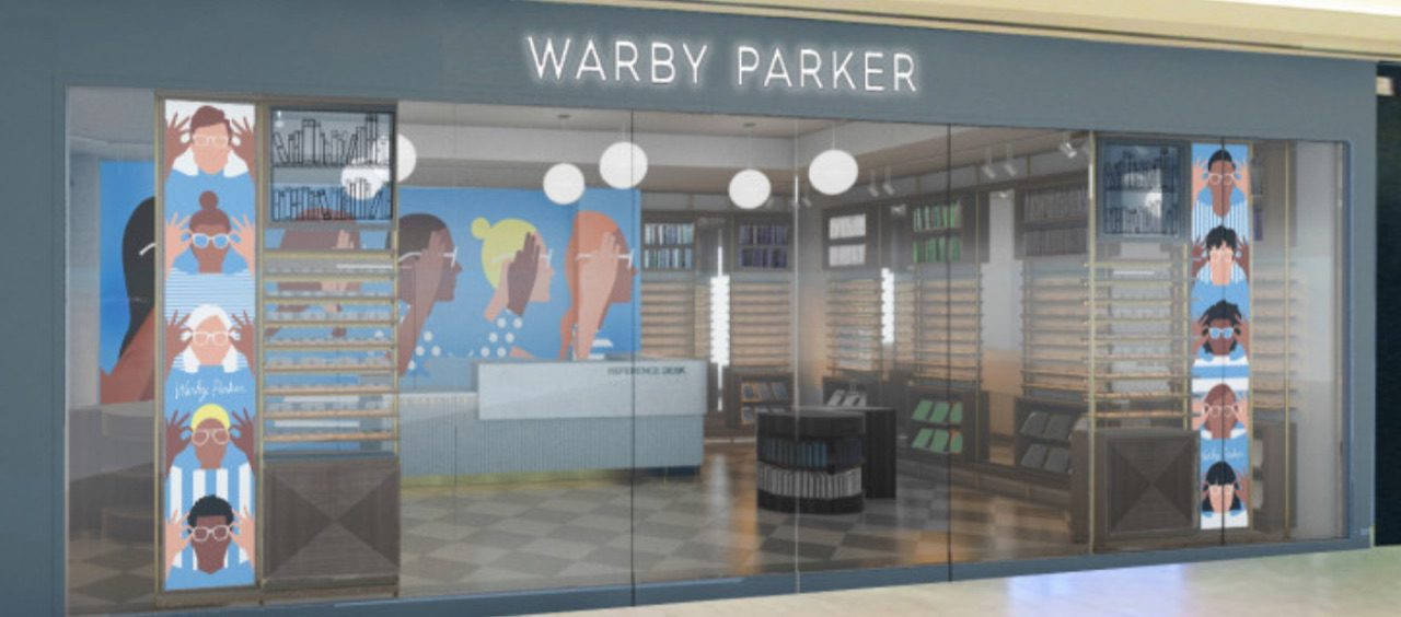 Warby Parker now has 65 retail locations in the United States and Canada, including this store in a Denver mall. Source: Warby Parker.