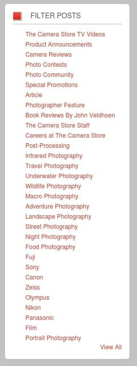 The Camera Store's blog categories enable readers to quickly find posts about specific camera brands and kinds of photography — as well as book reviews and product announcements.