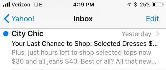 """A good preheader — """"Plus, just hours left to shop..."""" — will not repeat words from the subject line."""