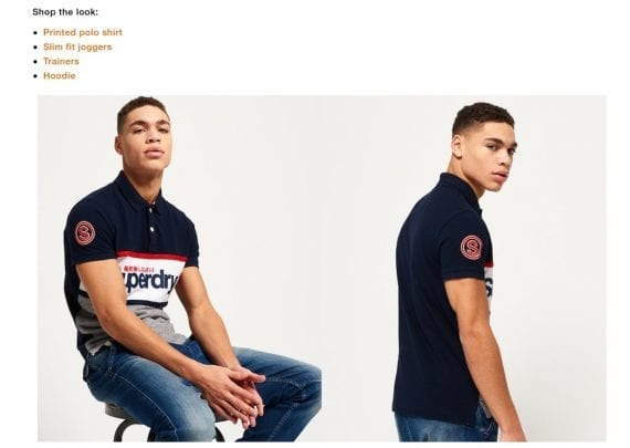 """The blog for Superdry, a clothing retailer, includes a section called """"Shop This Look"""" in a post about how to wear a polo shirt."""