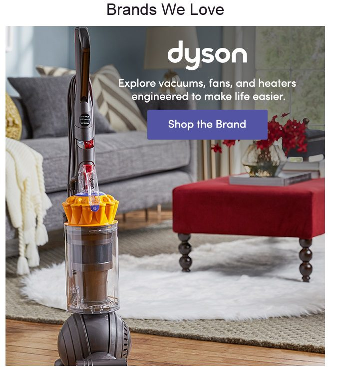 Including Dyson products at the bottom of the Wayfair email is risky. It's unrelated to lamps and could distract from an immediate purchase.