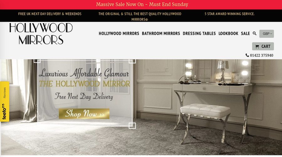 Hollywood Mirrors was one of three ecommerce sites launched by Adam Watson in 2016.