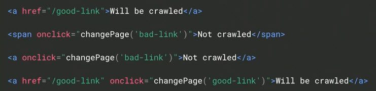 """This hypothetical markup highlights the difference to Google between crawlable links and uncrawlable — """"Will be crawled"""" vs. """"Not crawled."""" <em>Source: Google.</em>"""