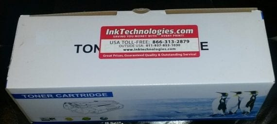 The large reminder sticker on this toner cartridge box from InkTechnologies.com is eye catching and helpful for reorders.