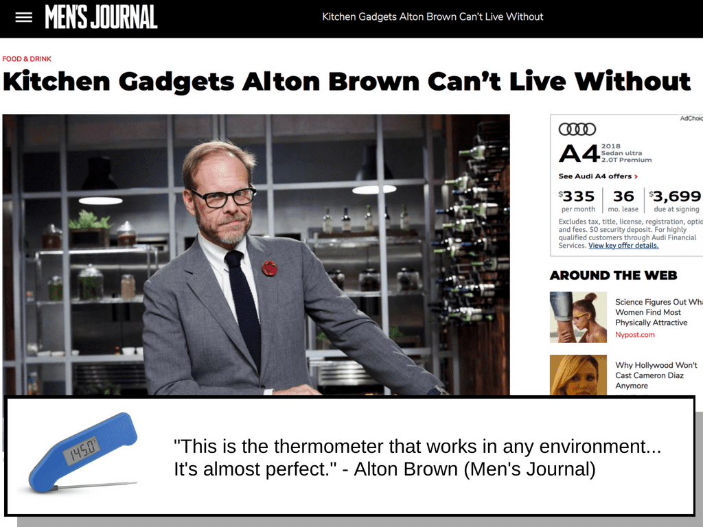 Featured Alton Brown quote at Men's Journal about a cooking thermometer.