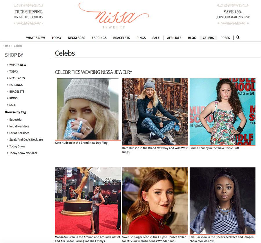 Nissa Jewelry celeb page that shows various stars wearing their jewelry.