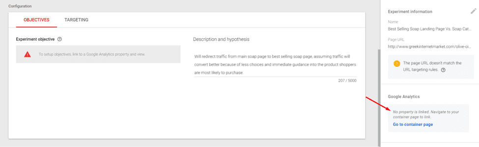 "Link to Google Analytics by clicking on ""Go to container page"" on the right-hand side."