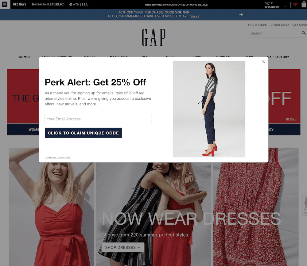 A popover asking for your email address in exchange for a coupon.