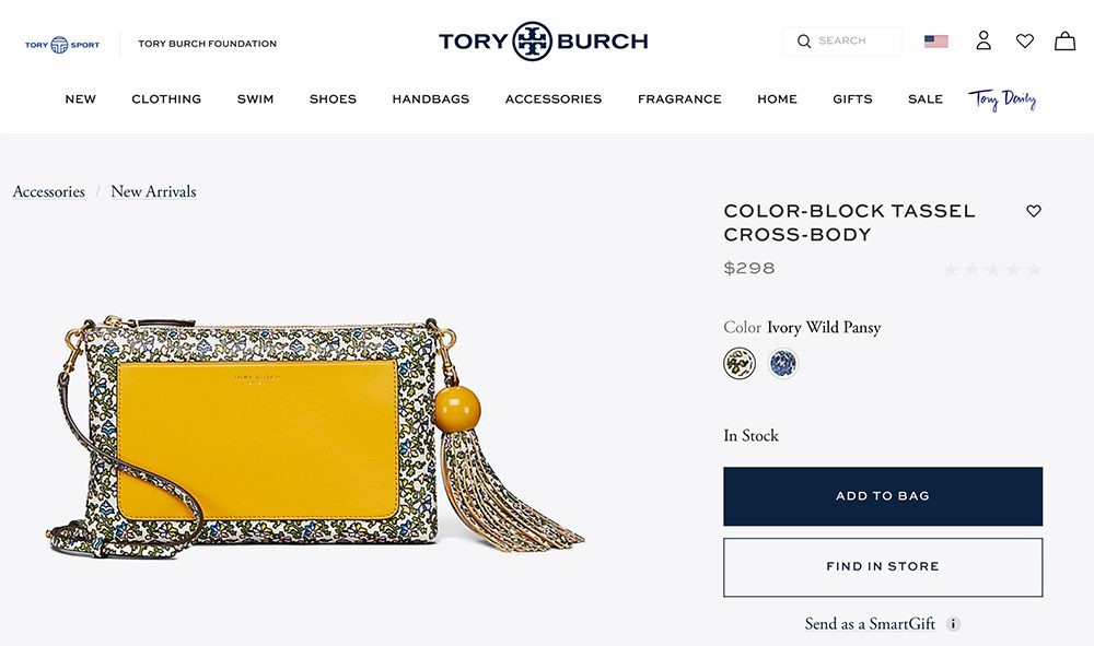 Tory Burch product page
