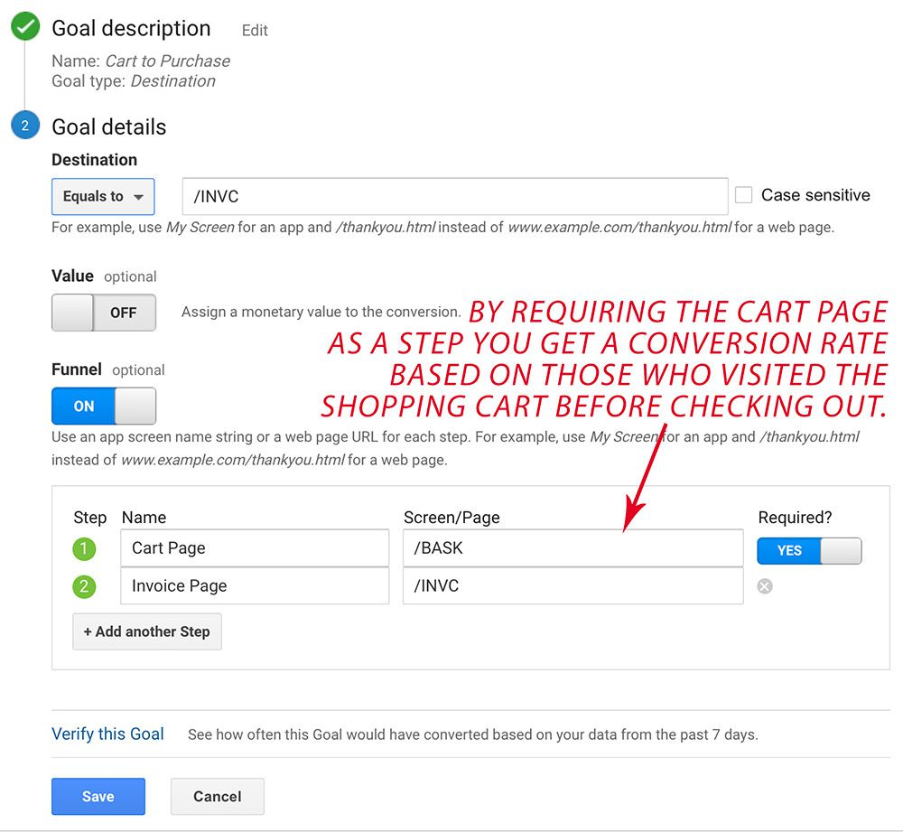 Creating a funnel to determine the cart to purchase rate.