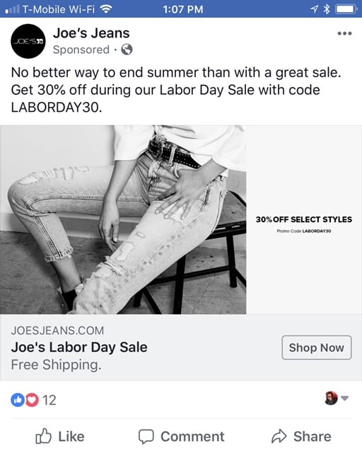 Joe's Jeans uses Facebook to promote its content — a Labor Day sale in this case.