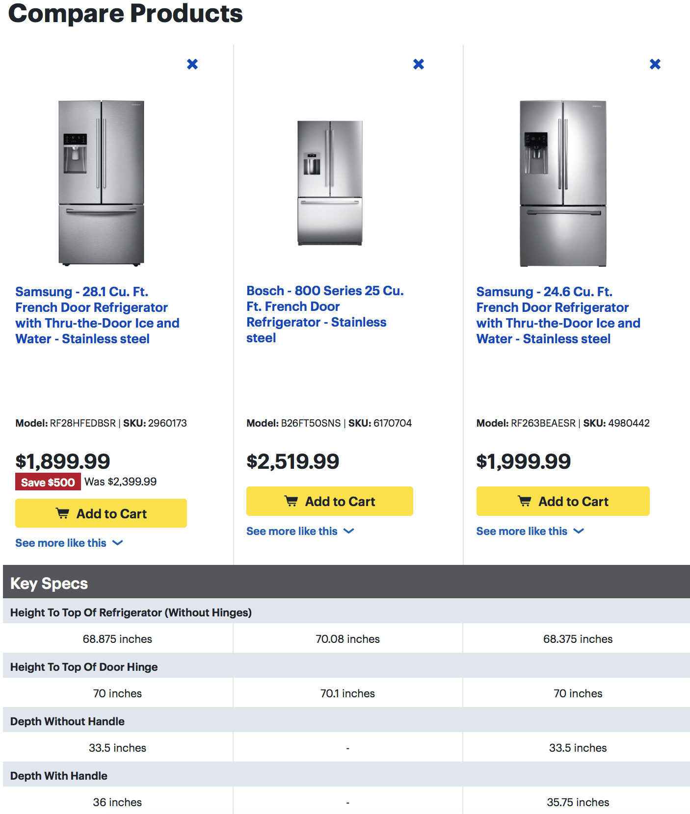 Refrigerator comparison table found at Best Buy