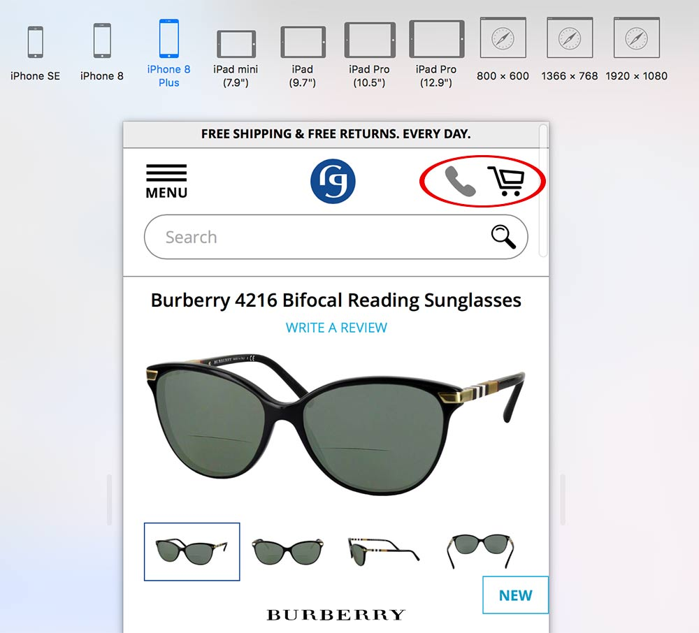 Make sure the cart and checkout buttons stand out. An icon to tap for mobile calling is also helpful. <em>Image: Burberry.</em>
