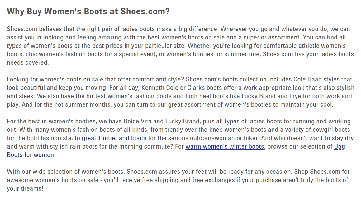 Long blocks of copy on Shoes.com's category pages don't necessarily help shoppers.
