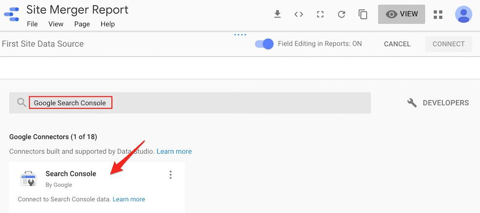 """Click on """"Create New Data Source"""" and then search for Google Search Console."""