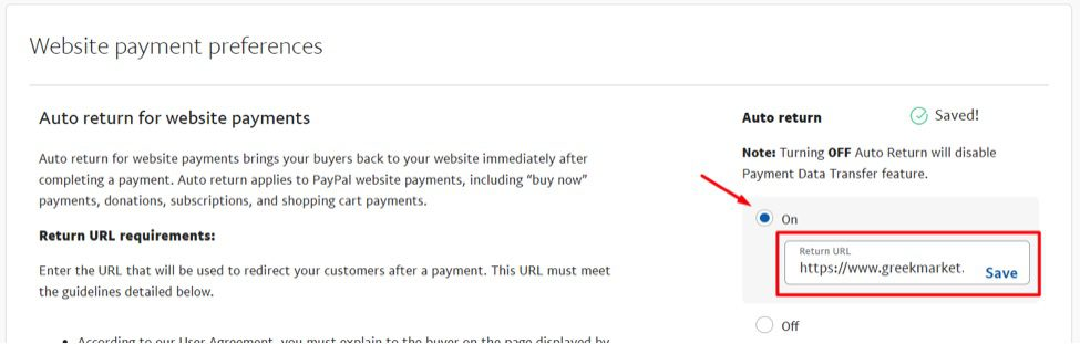 """Make sure Auto return is set to """"On"""" and enter the return URL in the box."""
