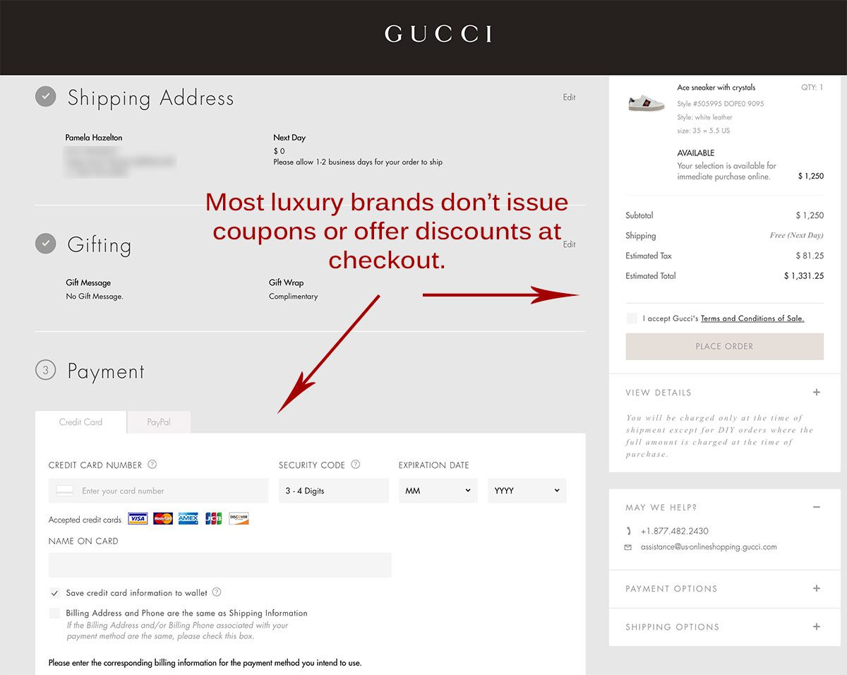 Gucci website does not offer discounts