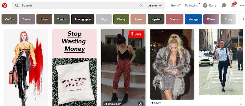 Visual social channels, those that emphasize images and videos, work best for fashion products. Pinterest, shown above, is a good example.