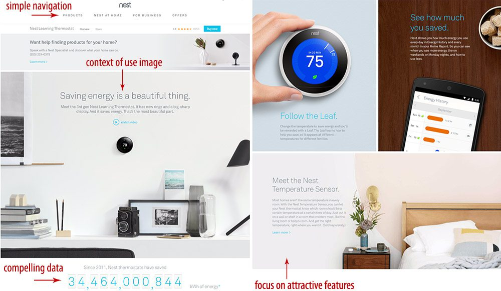 These screenshots from Nest's scrollable landing page relies on simple navigation and minimalist living.