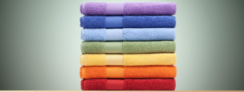 Showing variants in product images — such as bath towels — can lessen the demand for a single color or version, and thus reduce its out-of-stock risk.