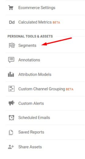 """Add advanced segments by going to the same """"View"""" column and clicking """"Segments."""""""