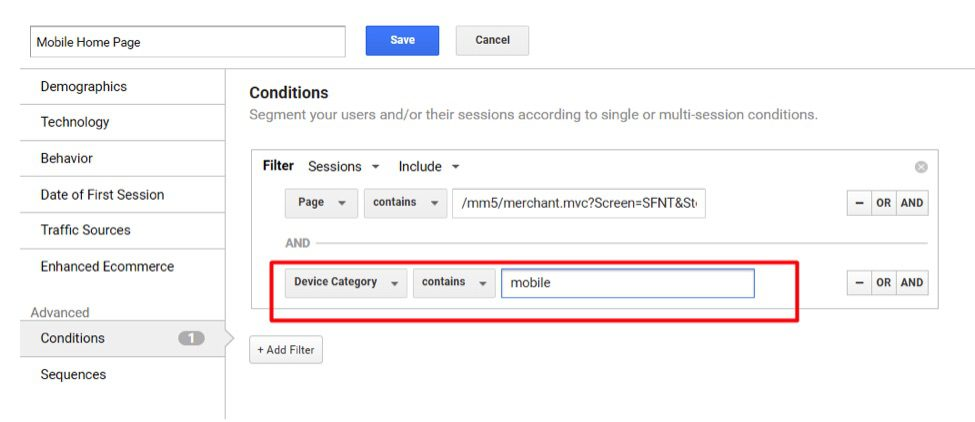 """Apply """"Device Category"""" contains """"mobile"""" if URLs are the same for desktop and mobile."""