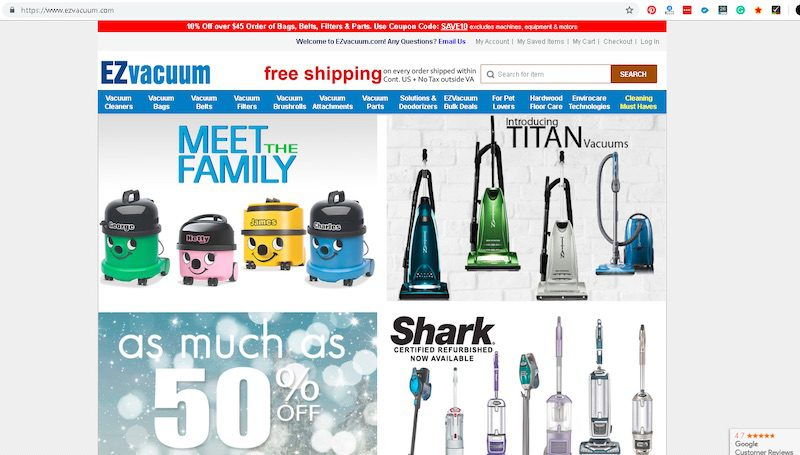 EZvacuum.com is well structured and optimized for organic search. Due to its expertise and selection, EZvacuum is a one-stop shop for research, saving consumers' time.