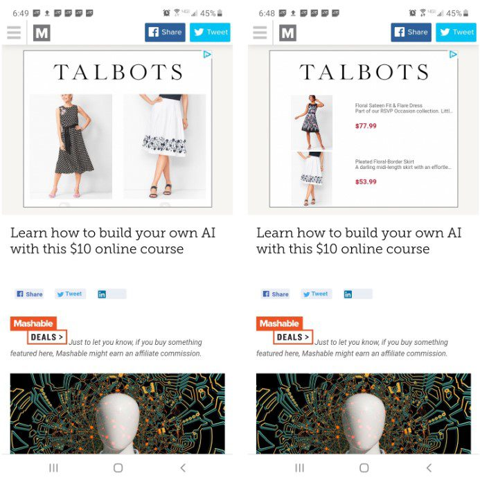 Talbots uses multiple ad formats to target shoppers and minimize banner blindness. The ad on the right includes red sale prices, which increases the likelihood of a purchase.