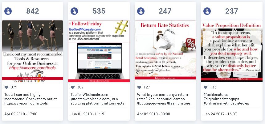 Instagram can generate traffic and sales to an ecommerce site. But it takes work and persistence. Tracking engagement, such as from these posts, is critical for tweaking and improving.